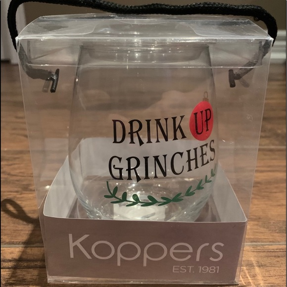 """Stemless Wine Glass """"Drink Up Grinches"""""""